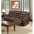 Samson Bonded Leather Brown Dual Reclining Sofa
