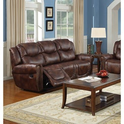 Witiker Bonded Leather Brown Dual Reclining Sofa