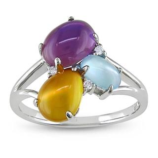 Miadora 10k White Gold 4-7/8ct TGW Multi-gemstone and Diamond Ring (G-H, I2-I3) (Size 7)