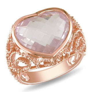 Miadora 14k Pink Gold 7-1/2ct Rose Quartz Heart Ring