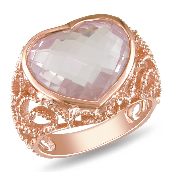 Miadora 14k Pink Gold 7-1/2ct Rose Quartz Heart Ring