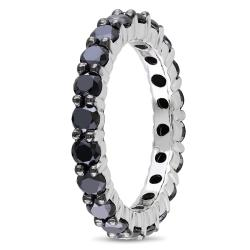 Miadora 14K White Gold 2ct TDW Black Diamond Eternity Ring