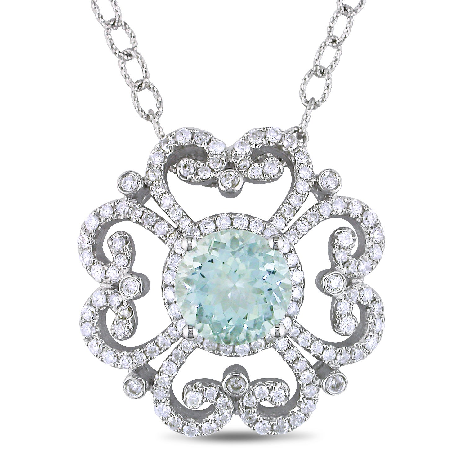 Miadora 14k White Gold 2-1/2ct Aquamarine and 1ct TDW Diamond Pendant (G-H, SI1-SI2)