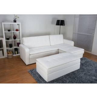 Denver White Double Cushion Storage Sectional Sofa Bed and Ottoman Set Overstock Shopping