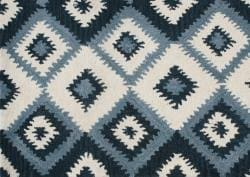 Alliyah Handmade IKAT Handmade Orion Blue New Zealand Blend Wool Rug 5x8