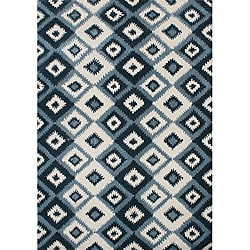 Metro IKAT pattern Hand Made Orion Blue New Zealand Wool Rug 5x8