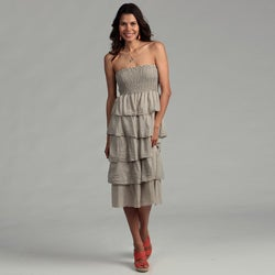 Elan Women's Taupe Cotton/ Silk Tiered Strapless Dress