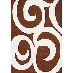 Alliyah Handmade Brown Swirl New Zealand Blend Wool Rug (5' x 8')