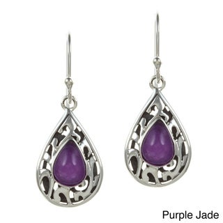 Sunstone Sterling Silver Black Agate or Purple Jade Teardrop Earrings