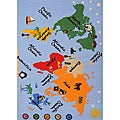 Kids' Non-Skid World Map Rug (3'3 x 4'7)