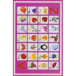 Kids' Non-Skid Pink Alphabet Rug (3'3 x 4'7)