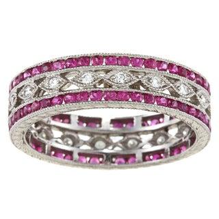 Platinum 1/5ct TDW Handmade Ruby Band Estate Ring (I-J, SI1-S12)