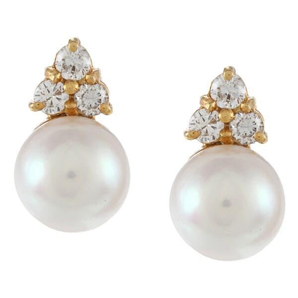 14K Yellow Gold 2/5ct TDW Pearl Stud Earrings (G-H, SI1-SI2)
