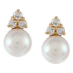 14K Yellow Gold 2/5ct TDW Pearl Stud Earrings (G-H, SI1-SI2)