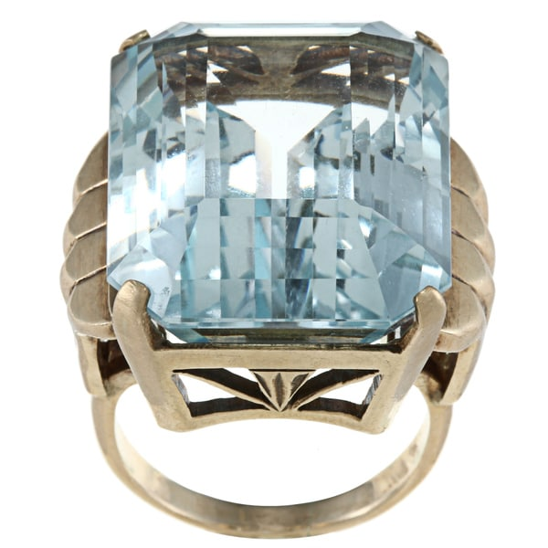 Pre-owned 14k Yellow Gold Blue Topaz Art Deco Cocktail Ring