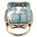 14k Yellow Gold Blue Topaz Art Deco Cocktail Ring