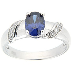 Pearlz Ocean Sterling Silver Blue-and-white Oval-cut CZ Ring