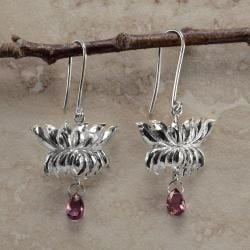 Inspired by Ancient Ceylon Art Lotus Rhodolite Garnet Earrings (Sri Lanka)