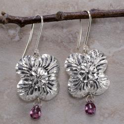 Inspired by Ancient Ceylon Art Rhodolite Garnet Gemstone Silver Earrings (Sri Lanka)