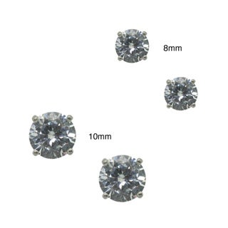Sterling Silver Round-cut Clear Cubic Zirconia Stud Earrings