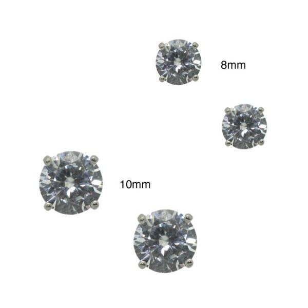Gioelli Sterling Silver Round-cut Clear Cubic Zirconia Stud Earrings