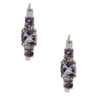 Sterling Silver Lavendar Quartz and CZ Hoop Earrings