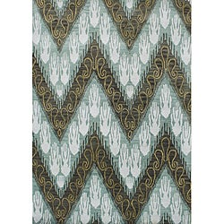 Alliyah Handmade Ikat Forest Green New Zealand Blend Wool Rug (8' x 10')