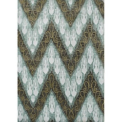 Alliyah Handmade Ikat Forest Green New Zealand Blend Wool Rug (5 'x 8')