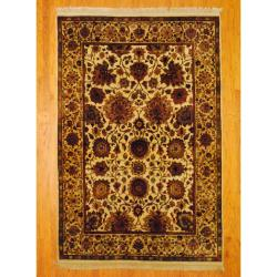 Indo Hand-knotted Mahal Ivory/ Rust Wool Rug (6'1 x 9'1)