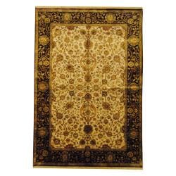 Indo Hand-knotted Mahal Ivory/ Navy Wool Rug (6' x 9')