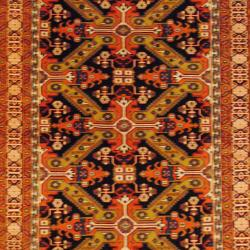 Persian Hand-knotted Tribal Kurdish Blue/ Ivory Wool Rug (5'6 x 9'3)