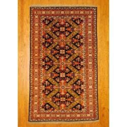 Persian Hand-knotted Tribal Kurdish Blue/ Ivory Wool Rug (5'6 x 9'3)