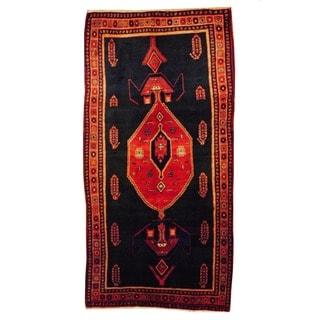Herat Oriental Persian Hand-knotted Tribal Bidjar Black/ Navy Wool Rug (5' x 9'10)