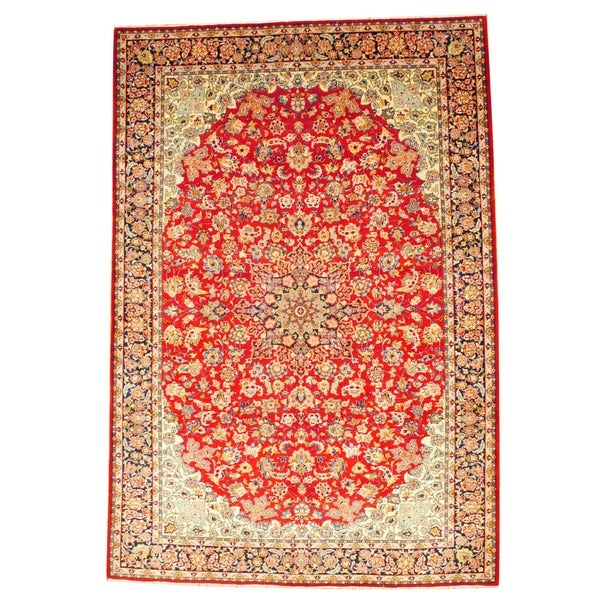 Hand Knotted Persian Isfahan Wool Area Rug: Herat Oriental Persian Hand-knotted Isfahan Red/ Navy Wool