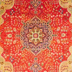 Persian Hand-knotted Tabriz Red/ Navy Wool Rug (9'10 x 12'11)