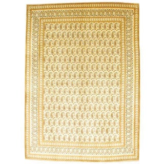 Persian Hand-knotted Kashan Ivory/ Light Blue Wool Rug (9'7 x 13'5)