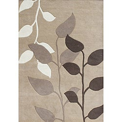 Alliyah Handmade Latte New Zealand Blend Wool Rug (5' x 8')