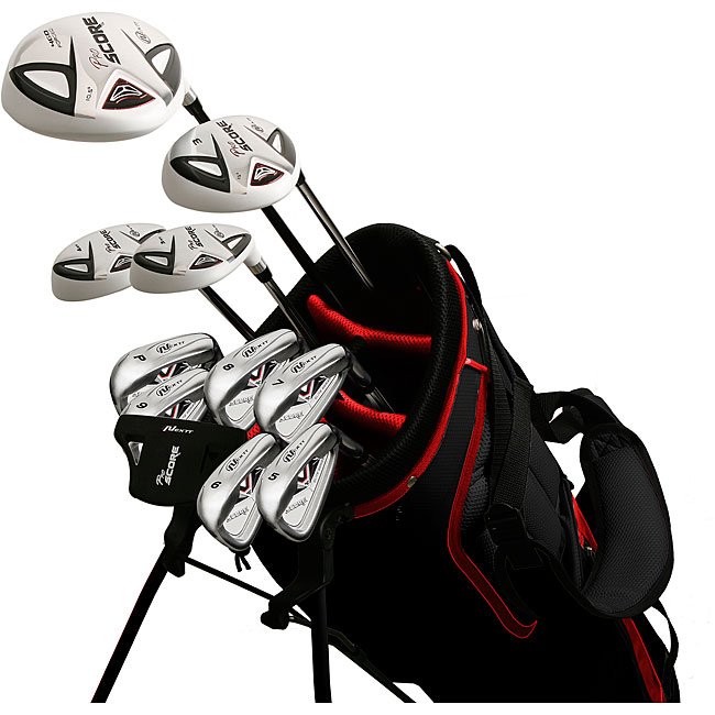 Pro Score Men's Nano White 17-piece Right-handed Golf Club and Bag Set