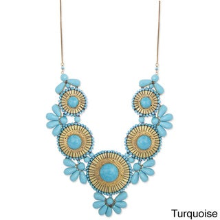 Handcrafted Turquoise Glass Beads ' Heavenly Hues' Bib Necklace (India)