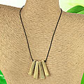 Handcrafted Goldtone Metal Bars 'Purity' Linen Cord Necklace (India)