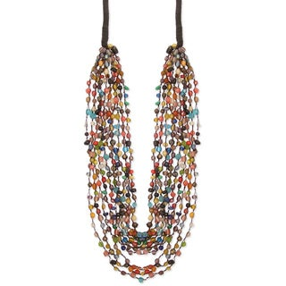 Handcrafted Multi-color Graduating Glass Beads 'Rainbow Mystery' Necklace (India)