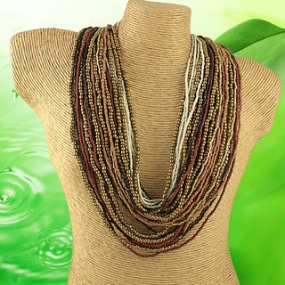 Handcrafted 'Regal Garland' Neutral Color Seed Bead Necklace (India)