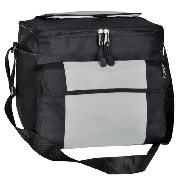 Everest Black/Silver 12-inch Insulated Polyester 24-can Cooler Bag