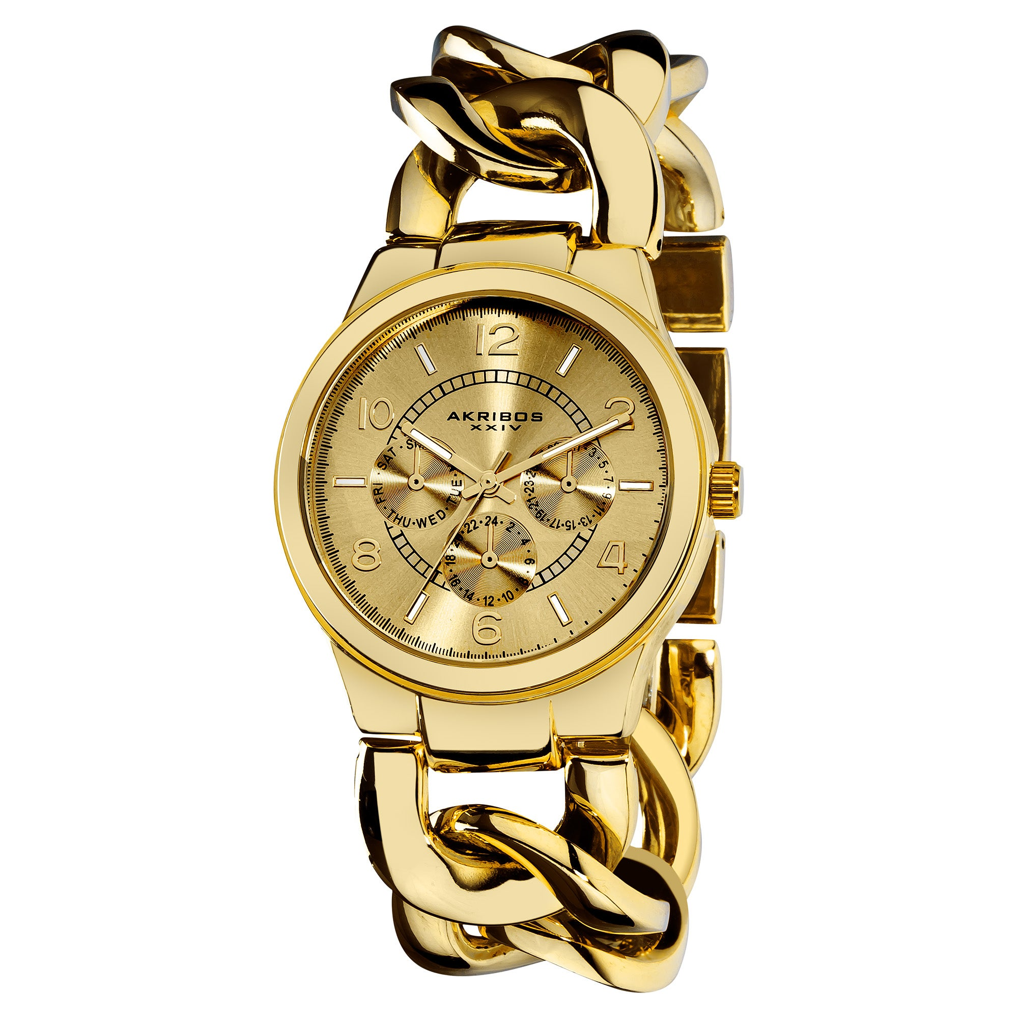 Akribos XXIV Women's Twist-Chain Japanese-Quartz Multifunction Watch