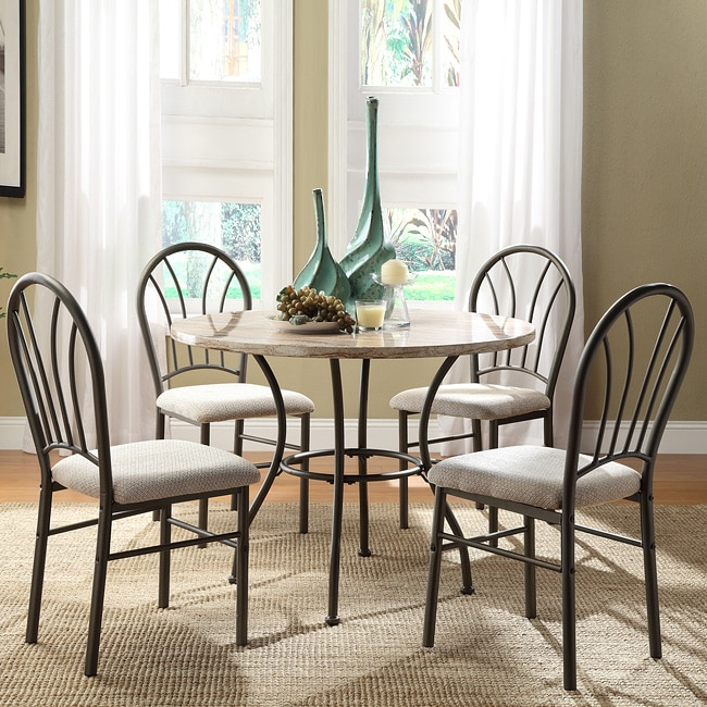 Rarwen Cream Faux Marble 5-piece Metal Casual Dining Set at Sears.com