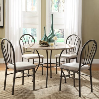 Rarwen Cream Faux Marble 5-piece Metal Casual Dining Set