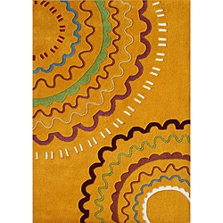 Alliyah Handmade Orange/ Red New Zealand Blend Wool Rug (5' x 8')