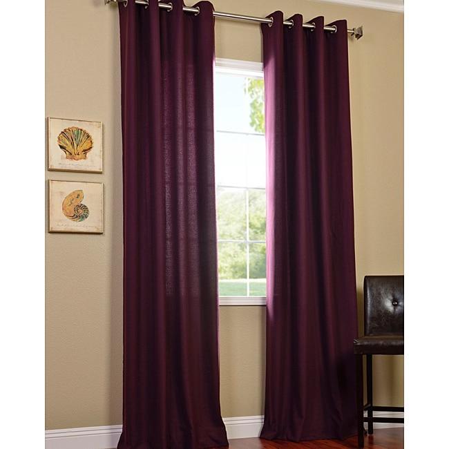 Grape Cotenza Faux Cotton Grommet Curtain Panel