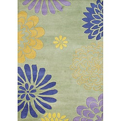 Alliyah Handmade Bright Lime Green New Zealand Blend Wool Rug (5' x 8')