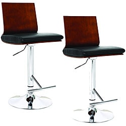 Flat Back Black Faux Leather Swivel Stools (Set of 2)